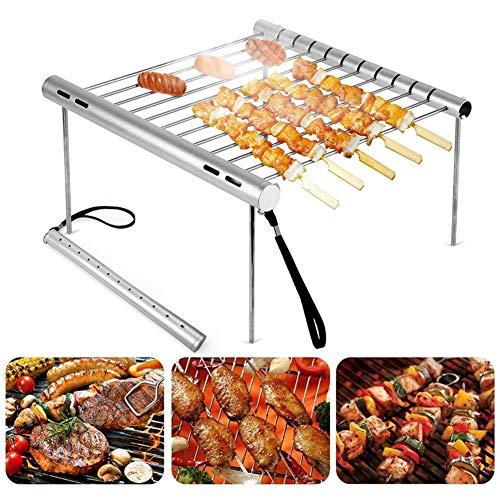 barer Camping-Grill, mehrere Zubehörteile können als Röhren aufbewahrt Werden, tragbarer, kompakter Holzkohlegrill aus Edelstahl für Picknick-Hinterhöfe ()