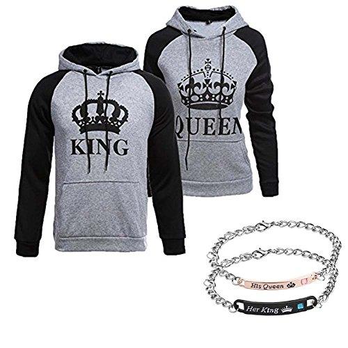 918coshiert Pärchen Pullover & Armbänder Set King Queen Hoodies & Armband Paar Sweatshirts Set (Herren M+Damen S Grau)
