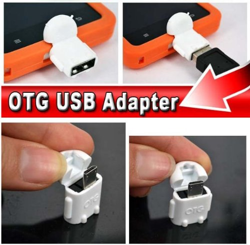 KRS A1 Weiss - USB OTG Robot - otg Adapter Micro-USB-Stecker Typ B / USB-Kupplung Buchse Typ A OTG Android Roboter Robot -USB Adapter für Huawei Ascend Mate Mate 2 P6 P6S Samsung Galaxy S2 I9100 I9105P S3 I9300 I9305 Note N7000 Sony Xperia Z1 L39h Z1f Honami Mini Compact ZL L35i Tablet Z
