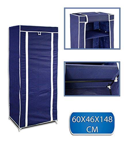 Vetrineinrete® guardaroba in tessuto salvaspazio per campeggio casa al mare arredamento organizer armadio con zip e scaffali 148 x 46 x 60 cm (blu) f31