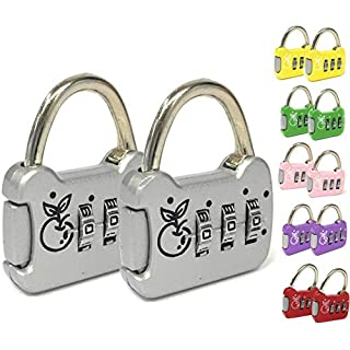 2 Mini Padlocks 3-Digit Combination Safe and Reliable - Assorted Colors - Ideal for Travel, Suitcase, Gym Locker - Available in Silver, Red, Pink, Green, Yellow, Purple (Green)