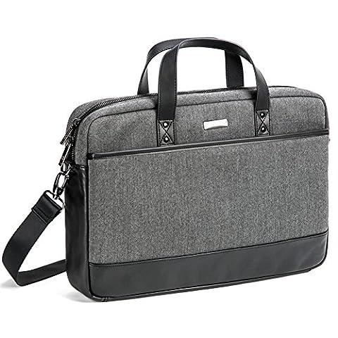 Evecase 17.3 Inch Laptop Shoulder Bag Tweed Pattern Business Briefcase Messenger Bag for Acer ASUS Dell Lenovo Sony Samsung Toshiba HP Laptops, Notebooks, Chromebook, Ultrabook - Black /