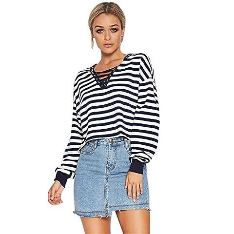HCFKJ Fashion T-Shirt Femme Stripe Long Sleeve V-Cou Bandage Creux Chemisier Tops (L, Noir)
