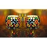 Living Room Decorative Multi Color Glass Roond Candle Holders Centerpiece ( Set Of 2 Pcs 3 Inch )