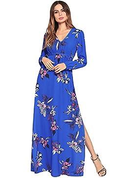 SJMMQZ Nuevo vestido de verano, vestido estampado de manga larga, cintura alta, falda larga