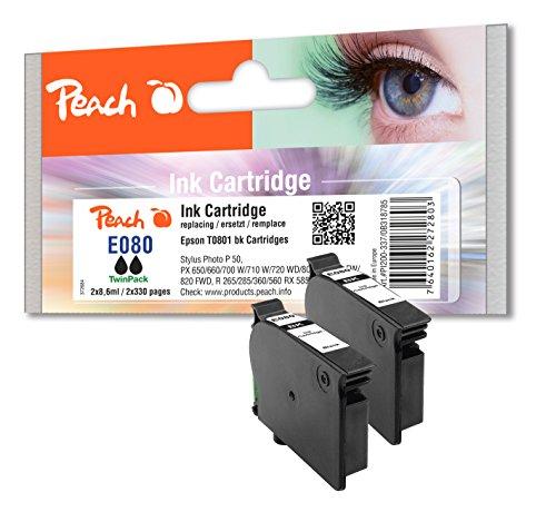 Preisvergleich Produktbild Peach Doppelpack Tintenpatronen schwarz kompatibel zu Epson T0801
