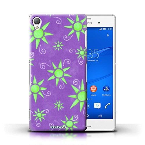 Kobalt® Imprimé Etui / Coque pour Sony Xperia Z3 / Bleu/Violet conception / Série Motif Soleil Violet/Vert