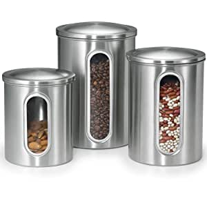 Polder 3346-75 3-Piece Stainless Steel Window Canister Set with Lids