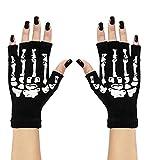 Skeletthandschuhe Knochenhandschuhe fingerlos Halloween Skelett Sensemann