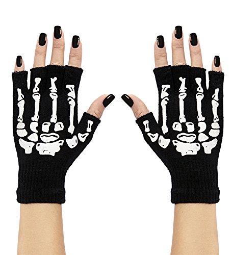 schuhe Knochenhandschuhe fingerlos Halloween Skelett Sensemann ()