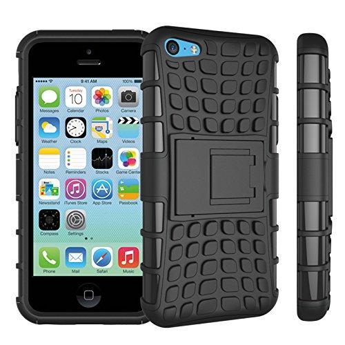 Apple iPhone 5c Coque, SsHhUu Dure Heavy Duty Réduction de Vibration Couverture Double Couche Armure Combo avec Kickstand Protecteur Étui Coque pour iPhone 5c 4.0 Pouce (Bleu) Noir