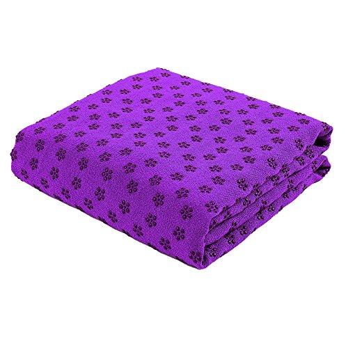 Yogadecke J-PG® Yoga Towel mit Rutschfester Oberfläche (Lila)