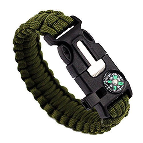 Pawaca Multifunctional Outdoor Survival Paracord Bracelet 5 In1 Kit Parachute Cord Buckle Compass Fire Starter Whistle Scraper for Hiking Camping Emergency
