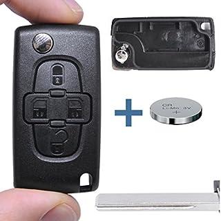 Klapp Schlüssel Gehäuse Funkschlüssel Fernbedienung Autoschlüssel HU83 + Batterie für Citroen/Peugeot/FIAT
