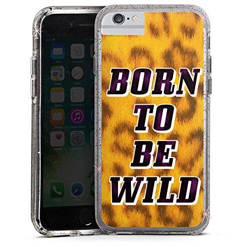 Apple iPhone 8 Bumper Hülle Bumper Case Glitzer Hülle Born To Be Wild Leopardenmuster Leopard Bumper Case Glitzer rose gold