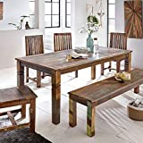 FineBuy Esszimmertisch Delhi 120 x 70 x 76 cm Mango Shabby Chic Massiv-Holz | Design Landhaus Esstisch Bootsholz | Tisch für Esszimmer rechteckig | Küchentisch 4-6 Personen