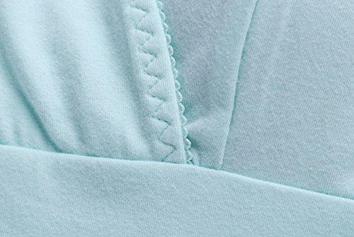 Cimary Damen Unterhemd Baumwolle Top Schlaf-BH Stillen Leibchen für Nachtwäsche Blue
