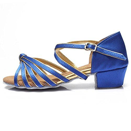 HROYL Mädchen Tanzschuhe/Latin Dance Schuhe Satin Ballsaal Modell-DS-203 Blau