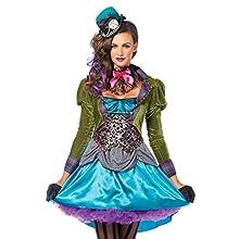 Leg Avenue Mad Hatter Adult Sized Costumes, Blue, M Femme