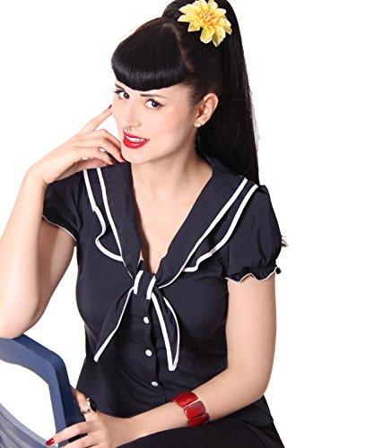 SugarShock Dollydi Rockabilly 50er retro Pin Up Schluppen Rüschen Kragen Bluse , Größe:M, Farbe:navyblau (Rüschen-kragen Bluse)