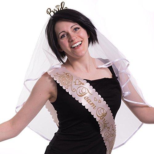 enabschied Accessoires | 5 Rose Satin Schärpe | 5 Team Braut Tattoes | Brautschleier mit Kamm | Goldene Tiara | Perfektes Set Für Bachelorette Party (12 Teilig) ()