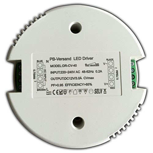 Dimmbarer LED Trafo 12V DC 1 - 40 Watt (rund) Netzteil dimmbar Treiber Transformator für Dimmer G4 MR16 GU5.3 -