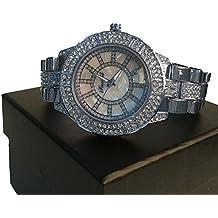 Bañado En Plata Madre de Perla Diamante de Imitación hiphop bling Reloj