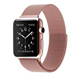 #7: ProElite 38 mm Stainless Steel Milanese Loop Strap with Magnetic Lock Buckle Wrist Band for Apple Watch - Rose Gold