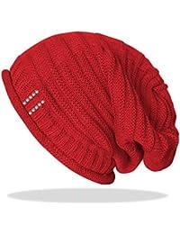 Beanie Mütze Strickmütze für Damen Long mit Glitzer Knopf und Strass Steinchen - A051