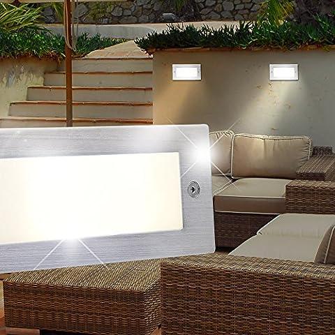 MIA Light Wand Einbau Leuchte AUSSEN Ø170mm/ LED/ Silber/ Edelstahl/ Strahler Lampe Aussenlampe Aussenleuchte Aussenstrahler Einbaulampe Einbauleuchte Einbauspot Einbaustrahler Wandeinbaulampe Wandeinbauleuchte Wandeinbauspot Wandeinbaustrahler
