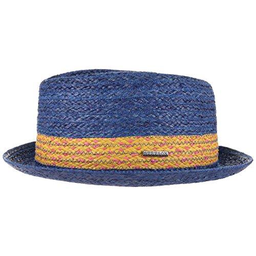 cappello-pork-pie-colour-band-stetson-cappello-di-paglia-cappello-estivo-s-54-55-blu