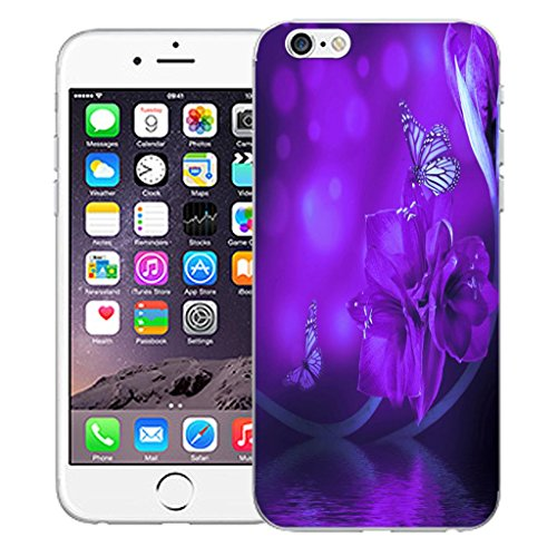 "Mobile Case Mate iPhone 6 4.7"" inch clip on Dur Coque couverture case cover Pare-chocs - blue dual love Motif water flower"