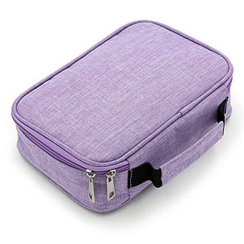 Astuccio di tela, a più strati, ampio, adatto per riporre le matite, le penne, le gomme e altri articoli di cancelleria Purple