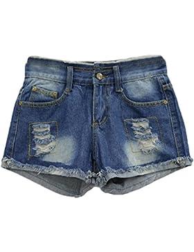 CHENGYANG Donna Viaggio Taglia Forte Pantaloni Corti Jeans Slim Pantaloncini Cucitura Shorts