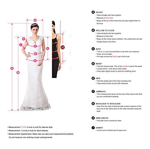 Robe Femme de Demoiselle dHonneur pour Soirée Cérémonie Elégante avec Manche Floral en Mousseline Longue Maxi en Dentelle avec Ceinture par MisShow Bleu Royal