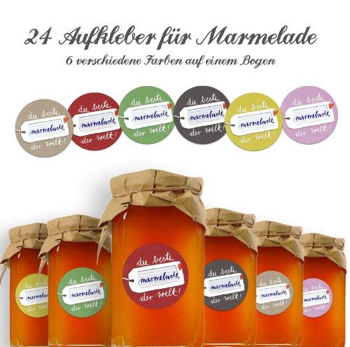 24 Marmeladenetiketten DIE BESTE MARMELADE DER WELT (beige, gelb, grau, rot, grün und rosa), selbstklebende Etiketten für Marmeladengläser und Einmachgläser zum Beschriften, MATTE Papieraufkleber RUND, 40mm