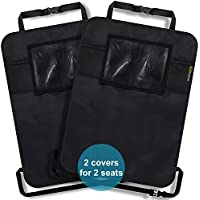 2 Protector respaldo de asiento de coche - con 2 bolsillos de malla y 1 bolsillo de tablet - protección para asientos delanteros alta calidad - repelente a suciedad, impermeable, ajuste universal - protección segura de SMARTPEAS®