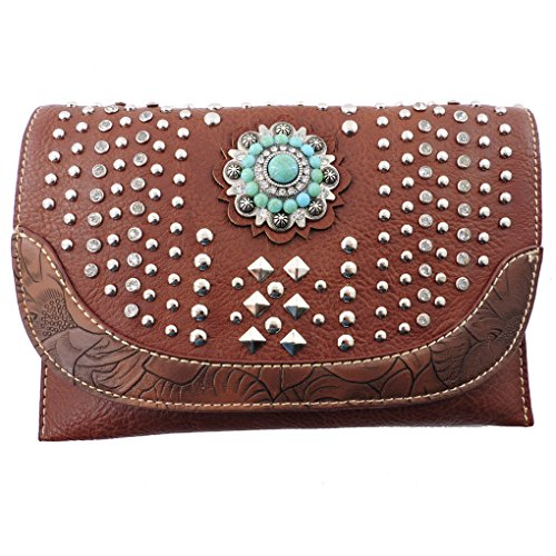 american-bling-sacs-bandouliere-femme-marron-brown-studded-taille-unique