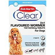 Bob Martin Clear 3-in-1 Flavoured Wormer Tablets for Dogs (Pack of 2 Tablets )