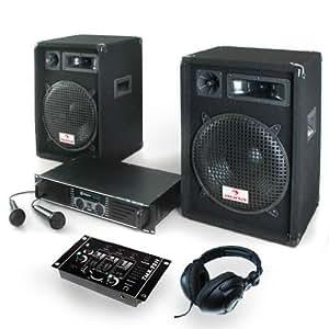 Pack dj 2x240w rms 2 enceintes table de mixage et ampli - Branchement enceinte amplifiee table mixage ...