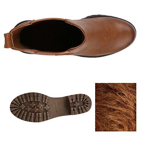 Stiefelparadies Damen Chelsea Boots Plateau Stiefeletten
