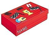 Bastelset Schulbox / Kreativbox - incl. NAME - Formel 1 Auto rot Autos Junge - Schule Basteln Malbox für Kinder / Zeichenbox Schachtel / Spielzeugkiste / Box