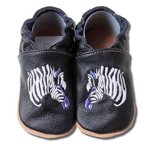 HOBEA-Germany bestickte Krabbelschuhe in verschiedenen Designs 22/23 (18-24 Mon), Zebra schwarz