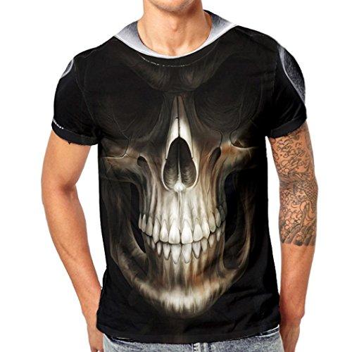 Skull Themed Series Mens 3D Druck Terro Skull Lässige Kurzarm Shirt Top Bluse,Schwarz Weiß,M (Bw-serie)