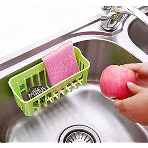 Colgante de plástico contenedor cesta baño cocina producto w / 2 tazas de la succión Color aleatorio cantidad