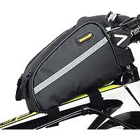 rhinowalk bicicleta tubo frontal bolsa 7inch impermeable de gran capacidad de sarga de nailon, para bicicleta de montaña bicicleta plegable fixed Gear Bike Negro, negro