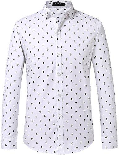 SSLR Herren Anker Druck Baumwolle Langarm Button Down Hemd (XX-Large, Weiß)
