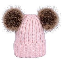 YeahiBaby Sombreros de punto de bebé Gorro de gorro de invierno cálido con  bolas mullidas para ab87aa02c90