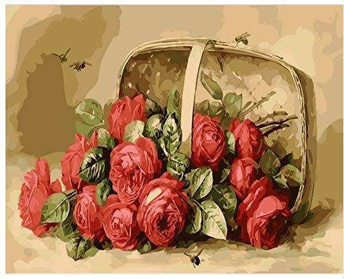 XIGZI Bild Von Frameless Rose Flowers DIY Durch Acrylmalerei Durch Zahlen Einzigartiges Geschenk Für Hauptdekoration 40x50 cm