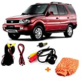 #8: Fabtec Best Quality LED Night Vision Waterproof Car Rear View Reverse Parking Camera with Microfiber Dusting Glove For Tata Safari